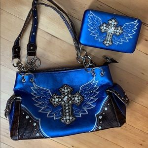 Blue Western Inspired Handbag & Wallet